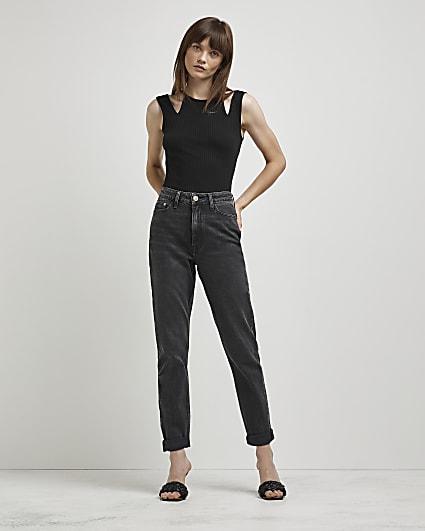 Black high waisted bum sculpt mom jeans