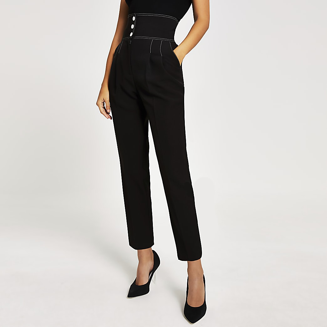 Pantalon noir taille haute avec surpiqûres contrastées