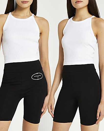 Black high waisted cycling shorts multipack