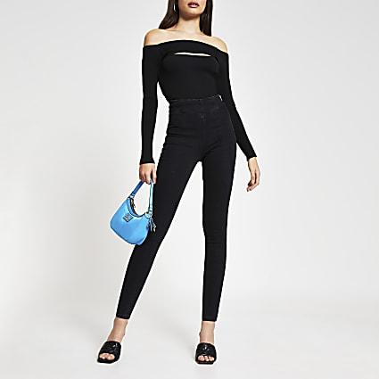 Black high waisted denim jeans