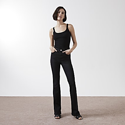 Black high waisted flare jeans