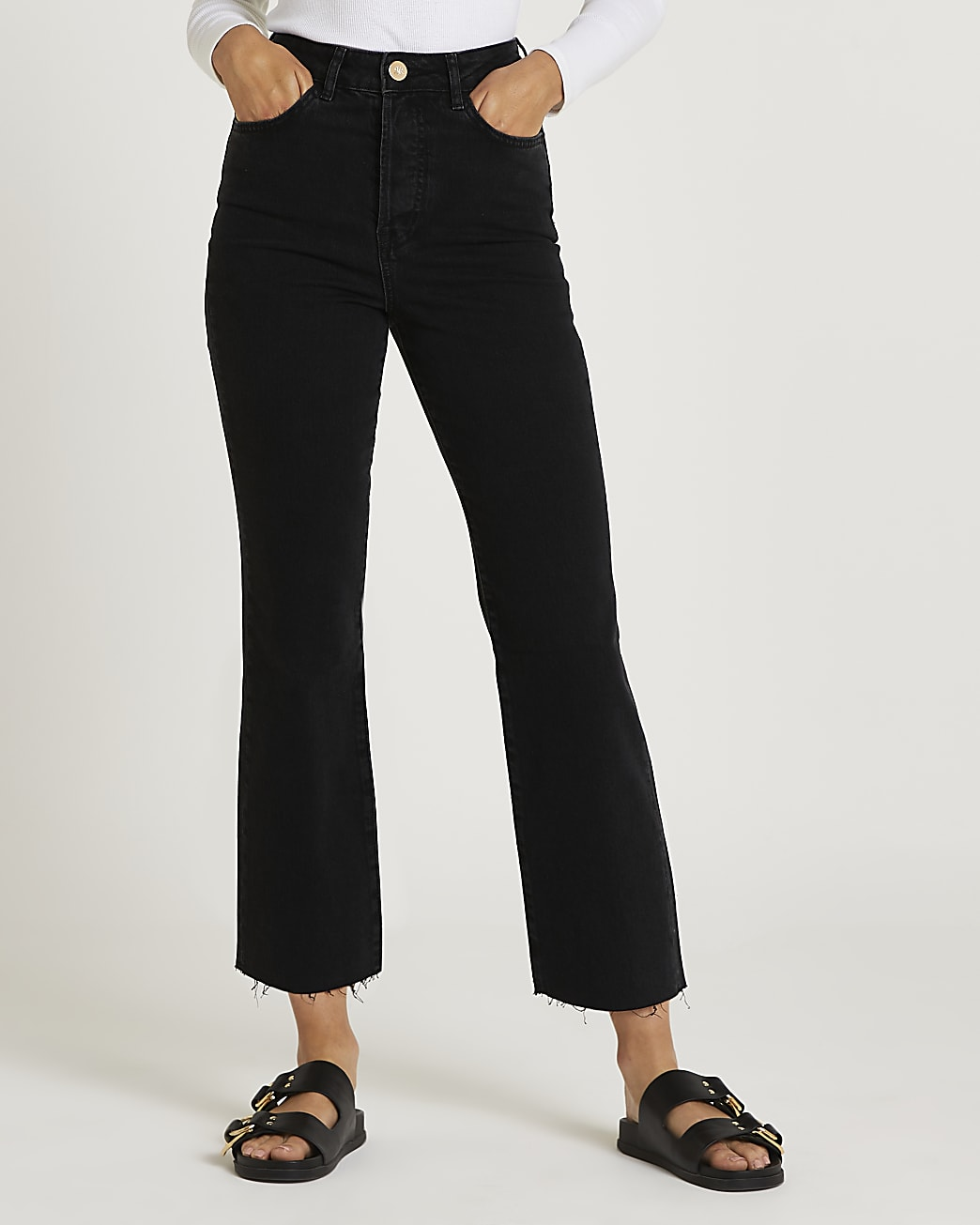 Black high waisted flared jeans