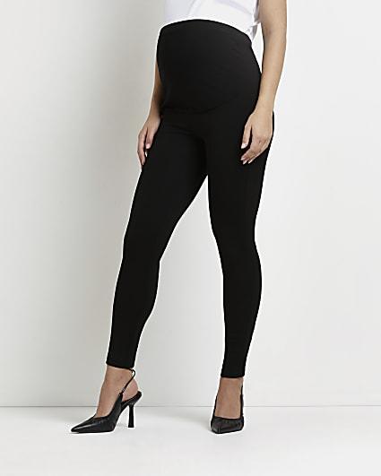 Black high waisted ponte maternity leggings