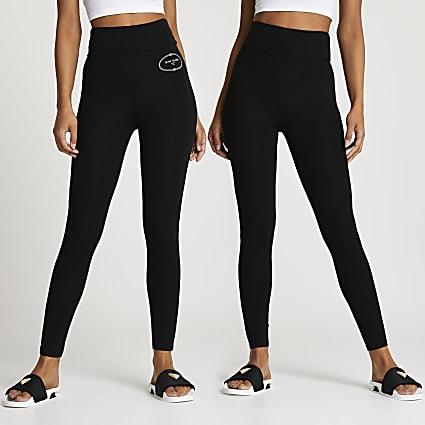Black high waisted RI leggings 2 pack