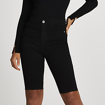Black high waisted skinny cycling shorts