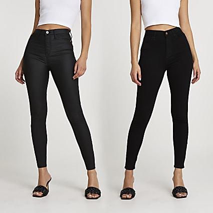 Black high waisted skinny jean multipack
