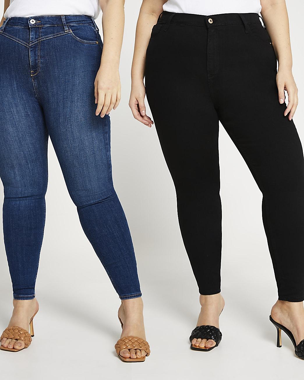 Black high waisted skinny jeans multipack