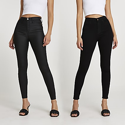 Black high waisted skinny jeans multipack