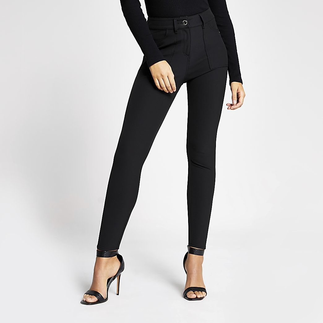 Black high waisted skinny utility trousers