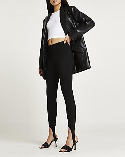Black high waisted stirrup leggings