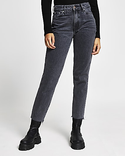 Black high waisted straight jeans