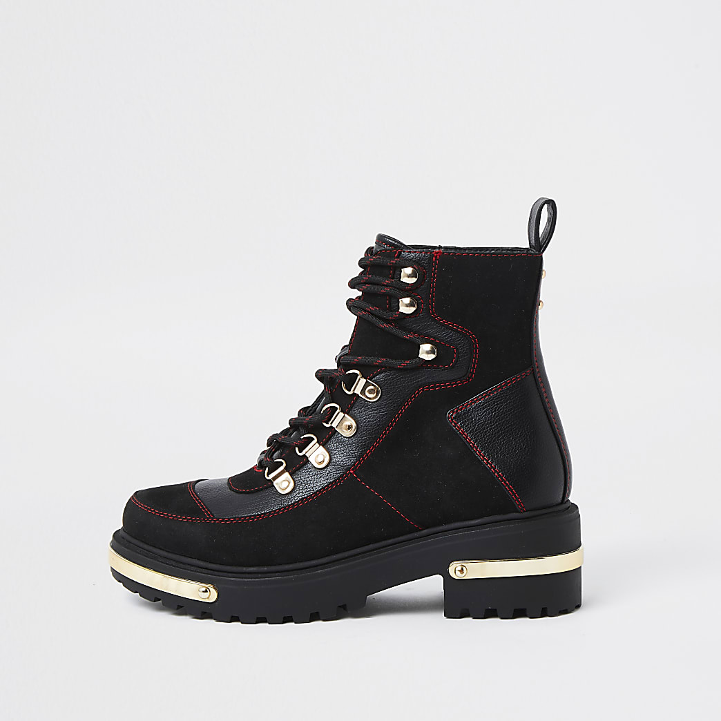 Black hiker detail ankle boot