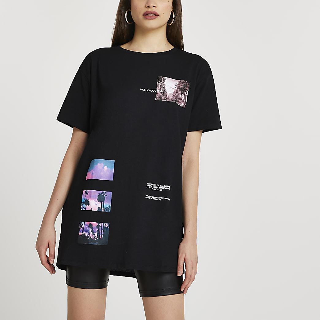 Black Hollywood Hills printed t-shirt