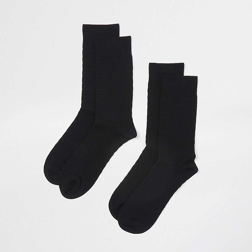 Black honeycomb premium socks 2 pack
