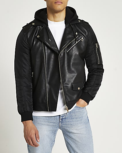 Black hooded biker jacket