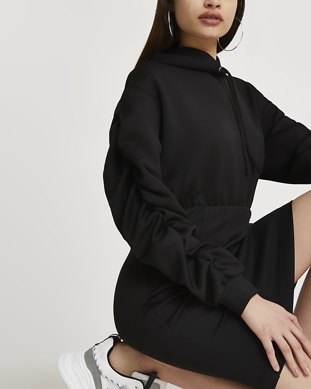 Black hooded bodycon dress