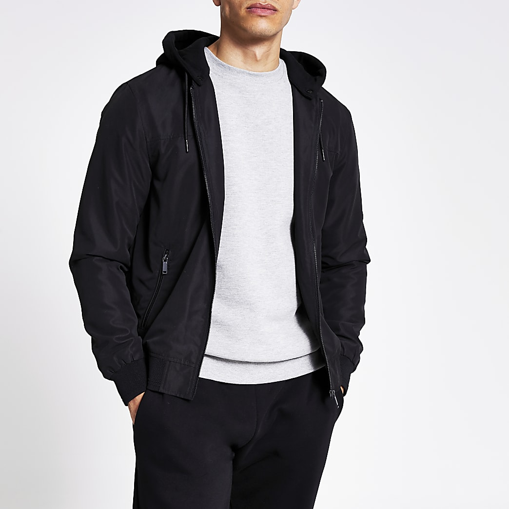 Black hooded bomber jacket