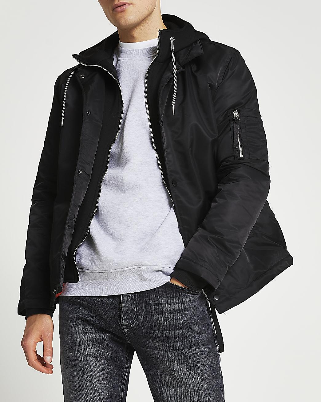 Black hooded coach jacket