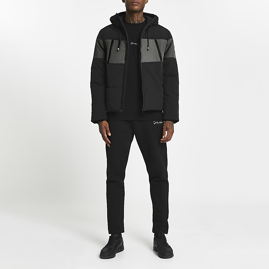 Black hooded colour block puffer jacket