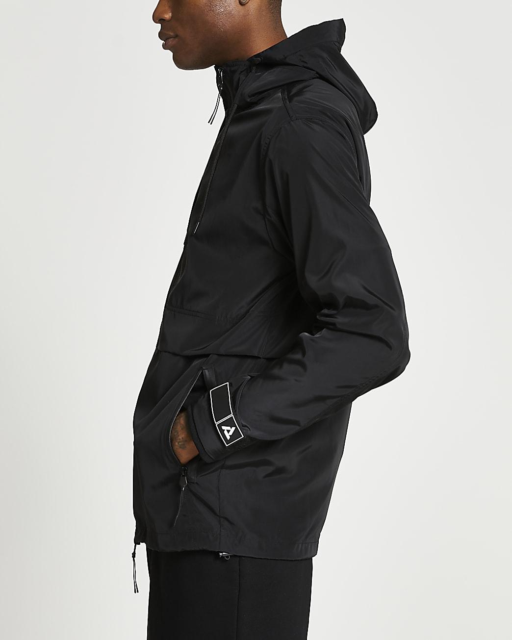 Black hooded long sleeve shell jacket