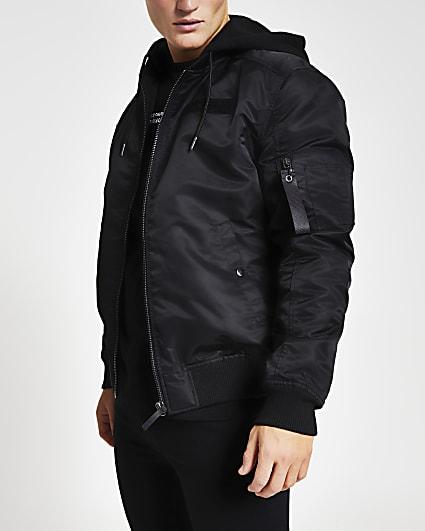 Black hooded MA1 bomber jacket