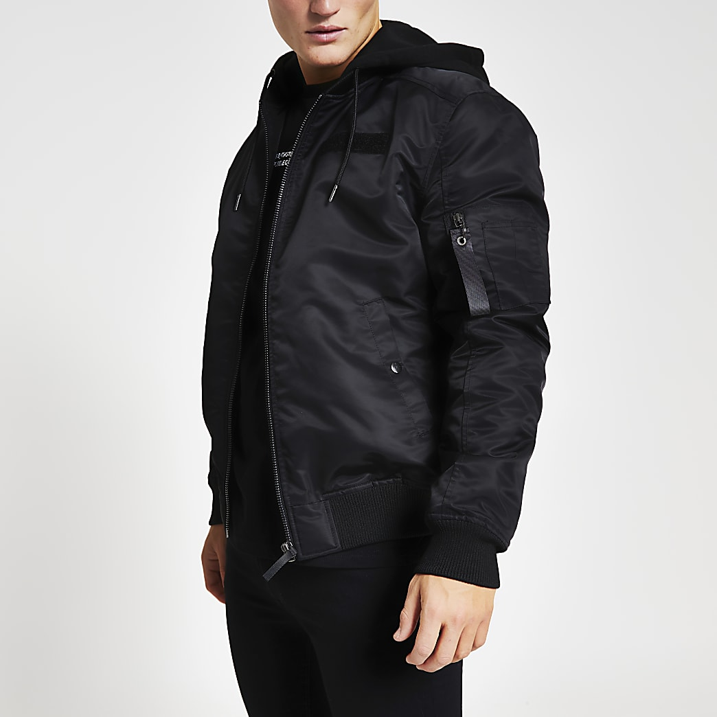 Black hooded MA1 bomber jacket