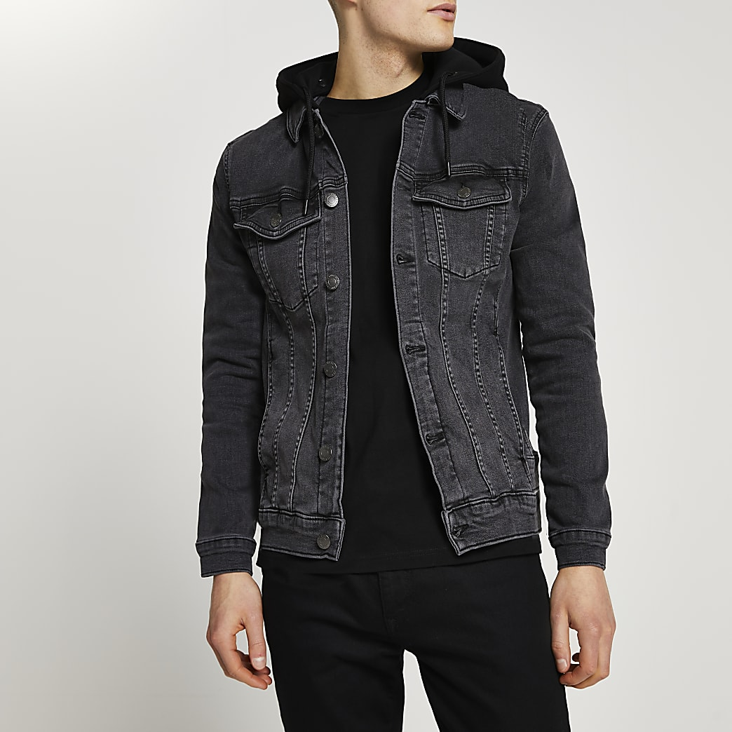 Black hooded muscle fit denim jacket