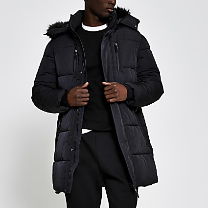 Black hooded padded parka jacket