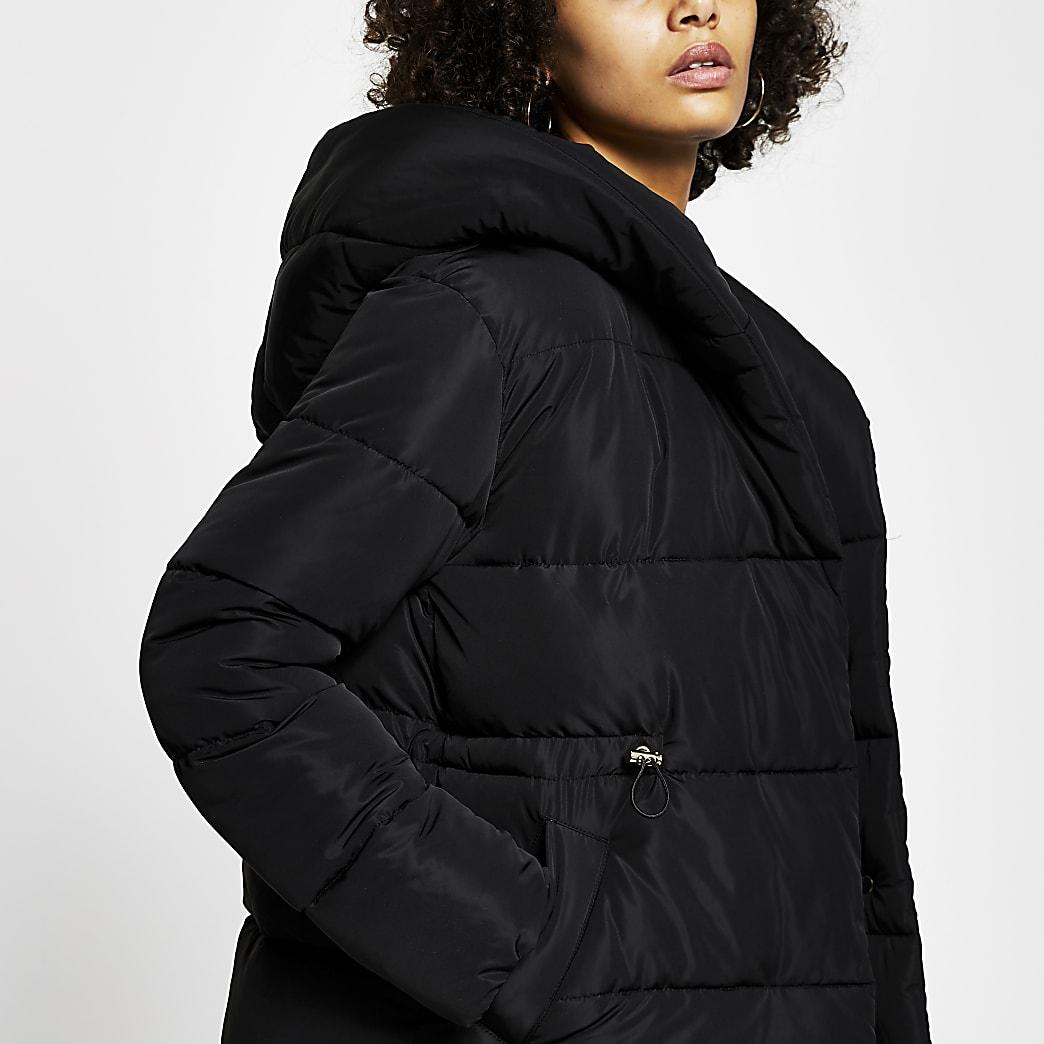Black hooded puffer coat