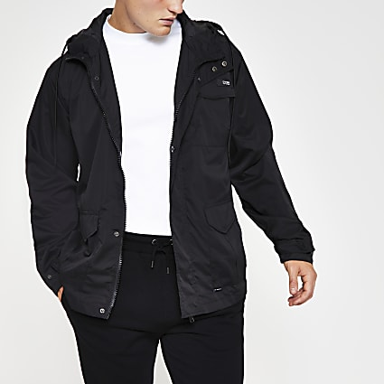 Black hooded three pocket jacket