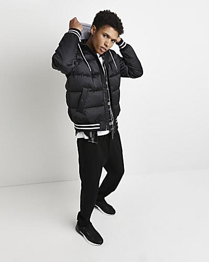 Black hooded varsity puffer bomber jacket