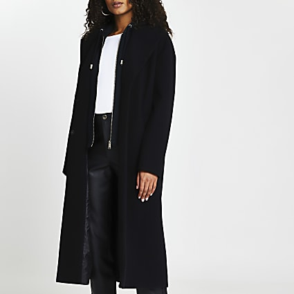 Black hooded wool coat