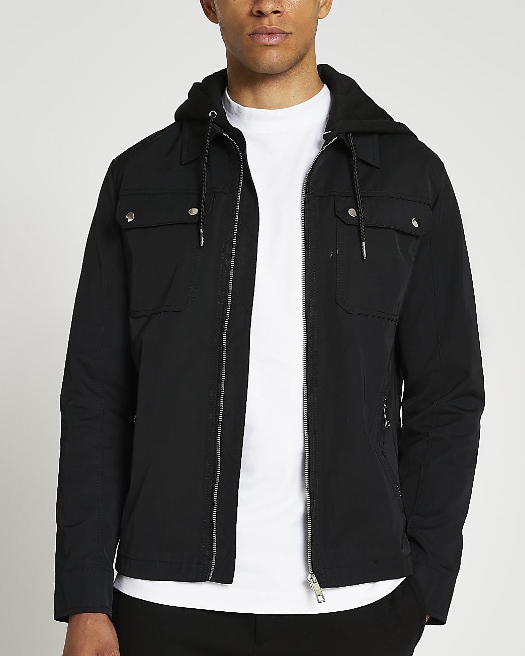 Black hooded zip up jacket