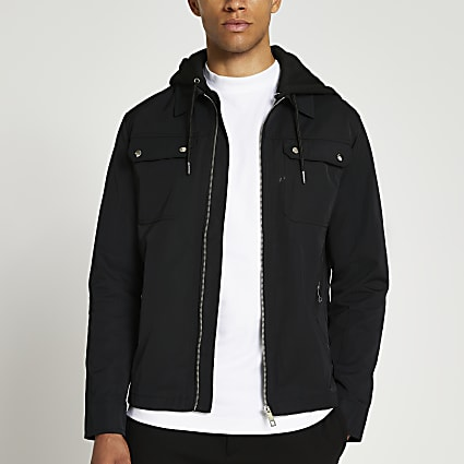 Black hooded zip up jacket