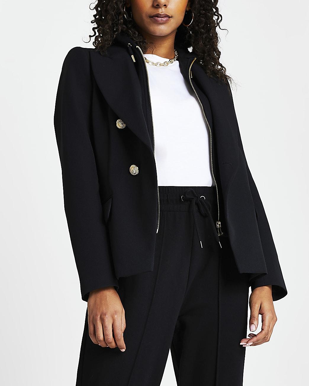 Black hoodie hybrid blazer