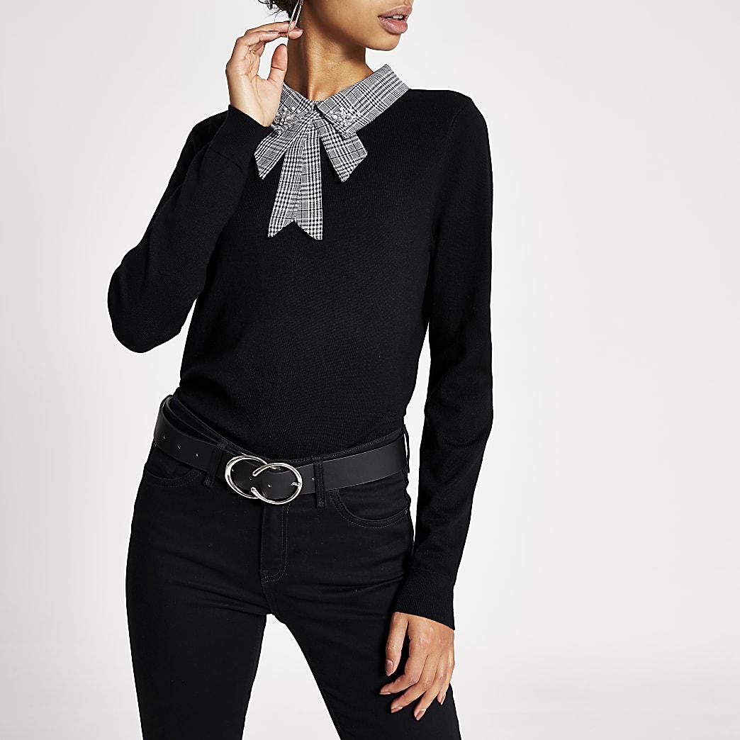 Black houndstooth embellished collar top