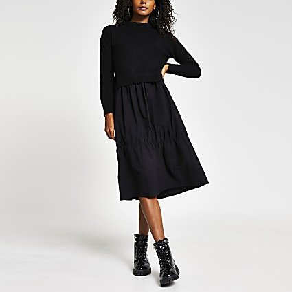 Black Hybrid jumper Smock dress