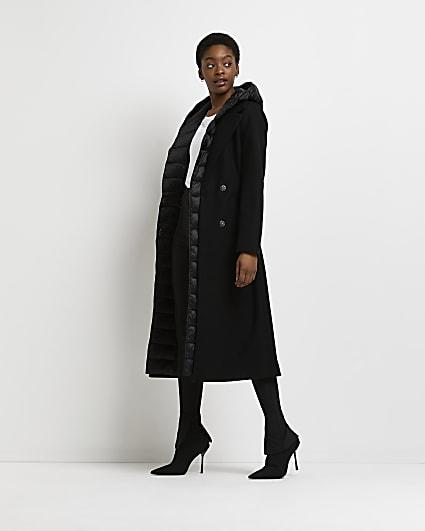 Black hybrid padded coat