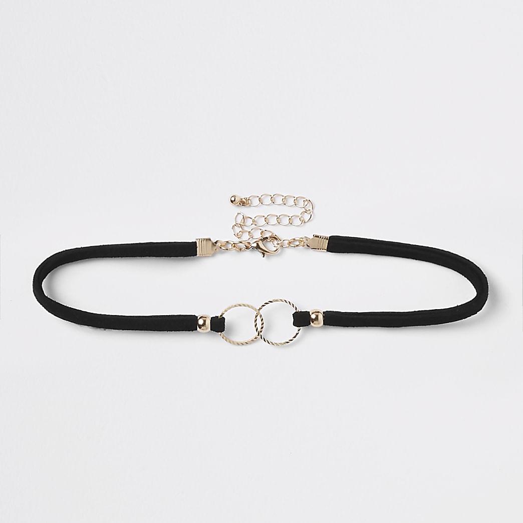 Collier ras-de-cou noir orné à anneaux entrelacés