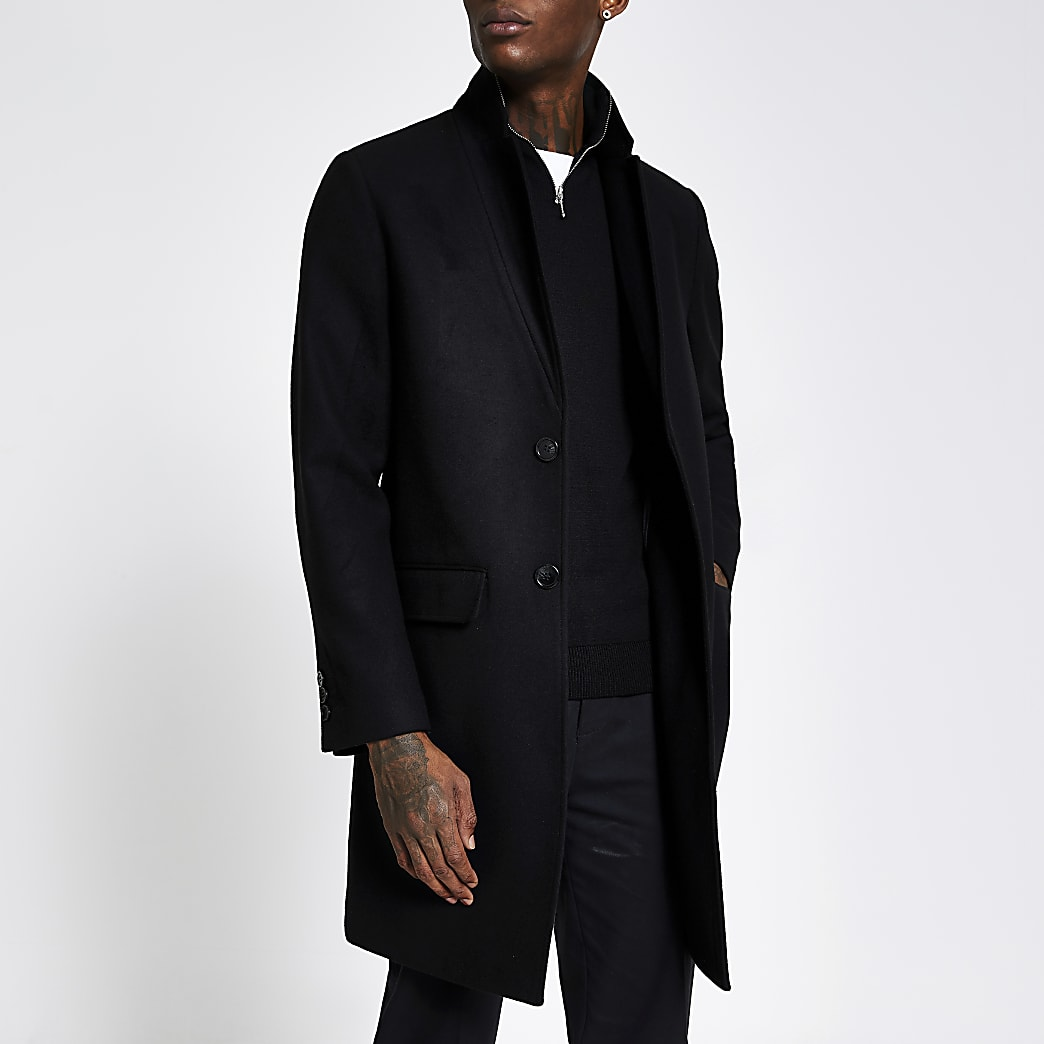 Black Inverted Lapel Collar Overcoat