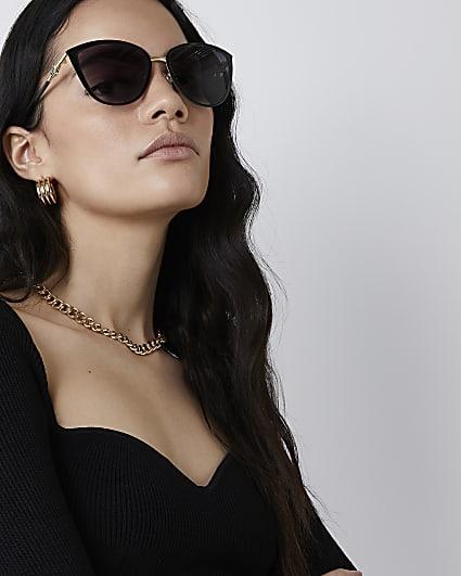 Black iridescent cateye sunglasses