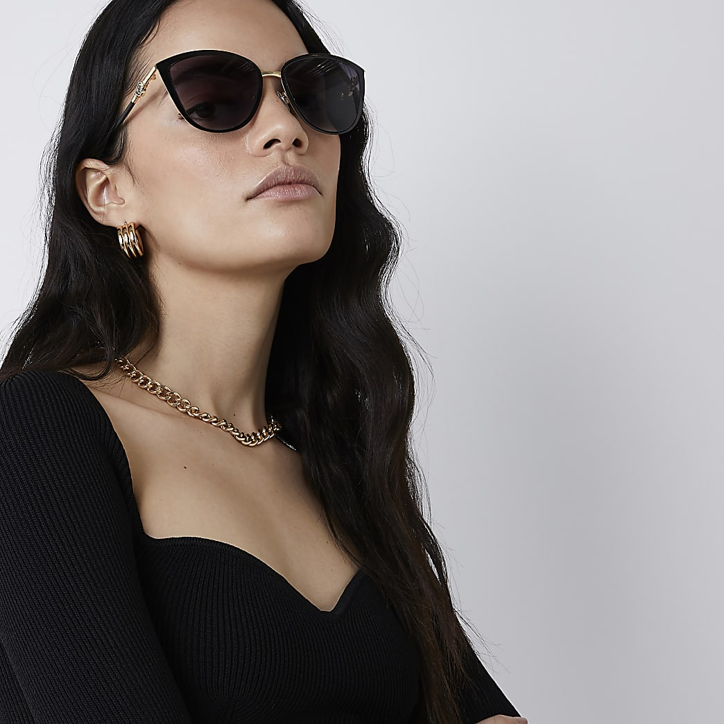 Black iridescent cateye sunglasses