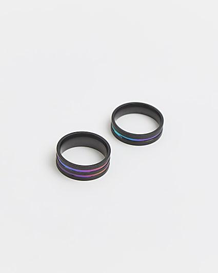 Black iridescent stripe band rings 2 pack