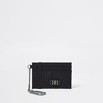 Black jacquard chain card holder