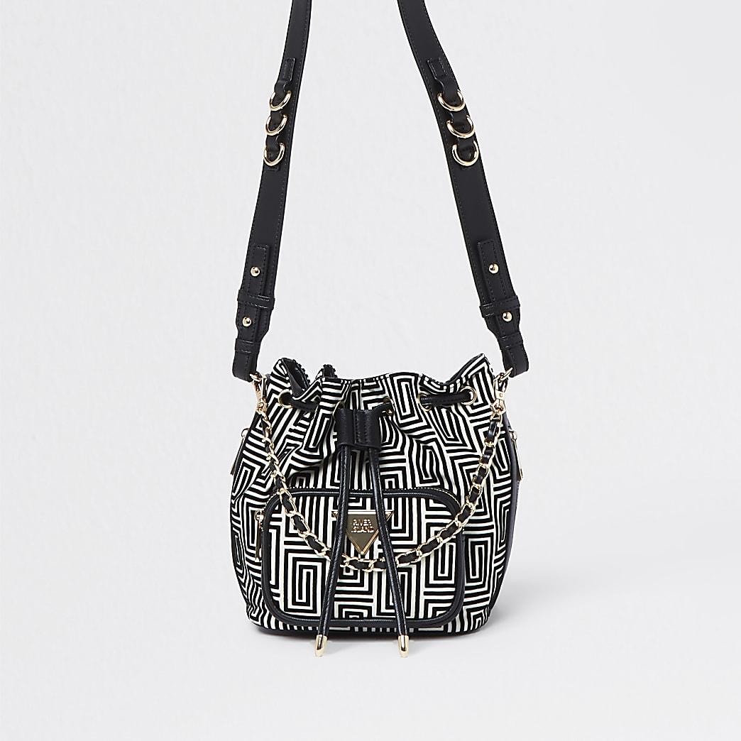 Black jacquard duffle bag