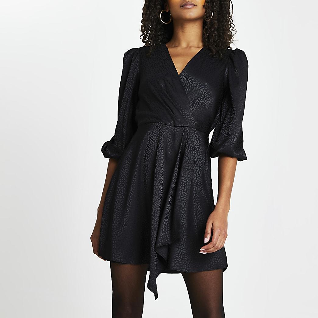 Black jacquard mini wrap long sleeve dress
