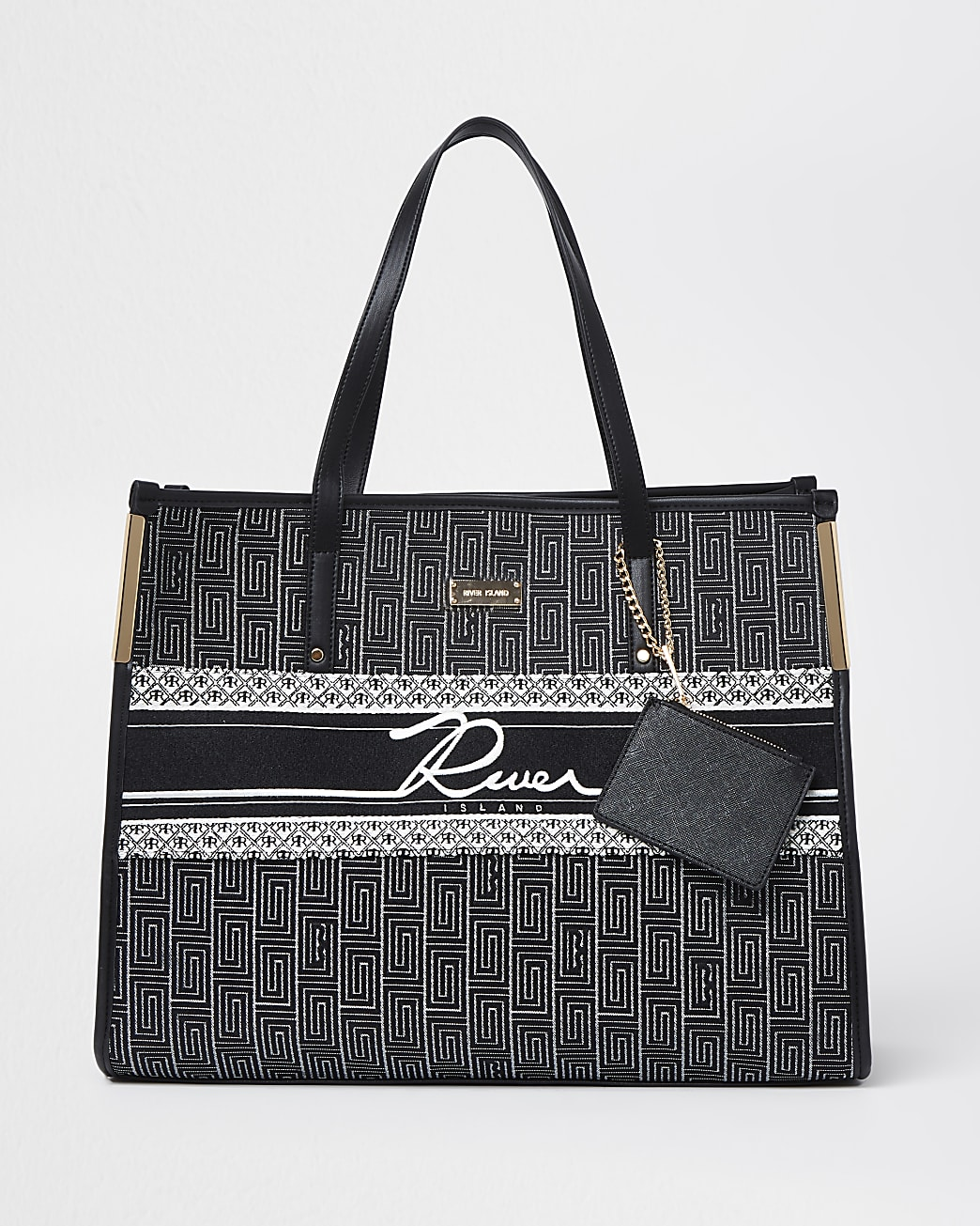Black jacquard pouch shopper bag