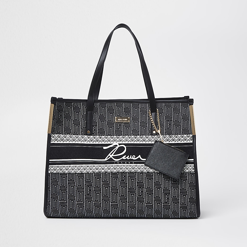 Black jacquard pouch shopper bag