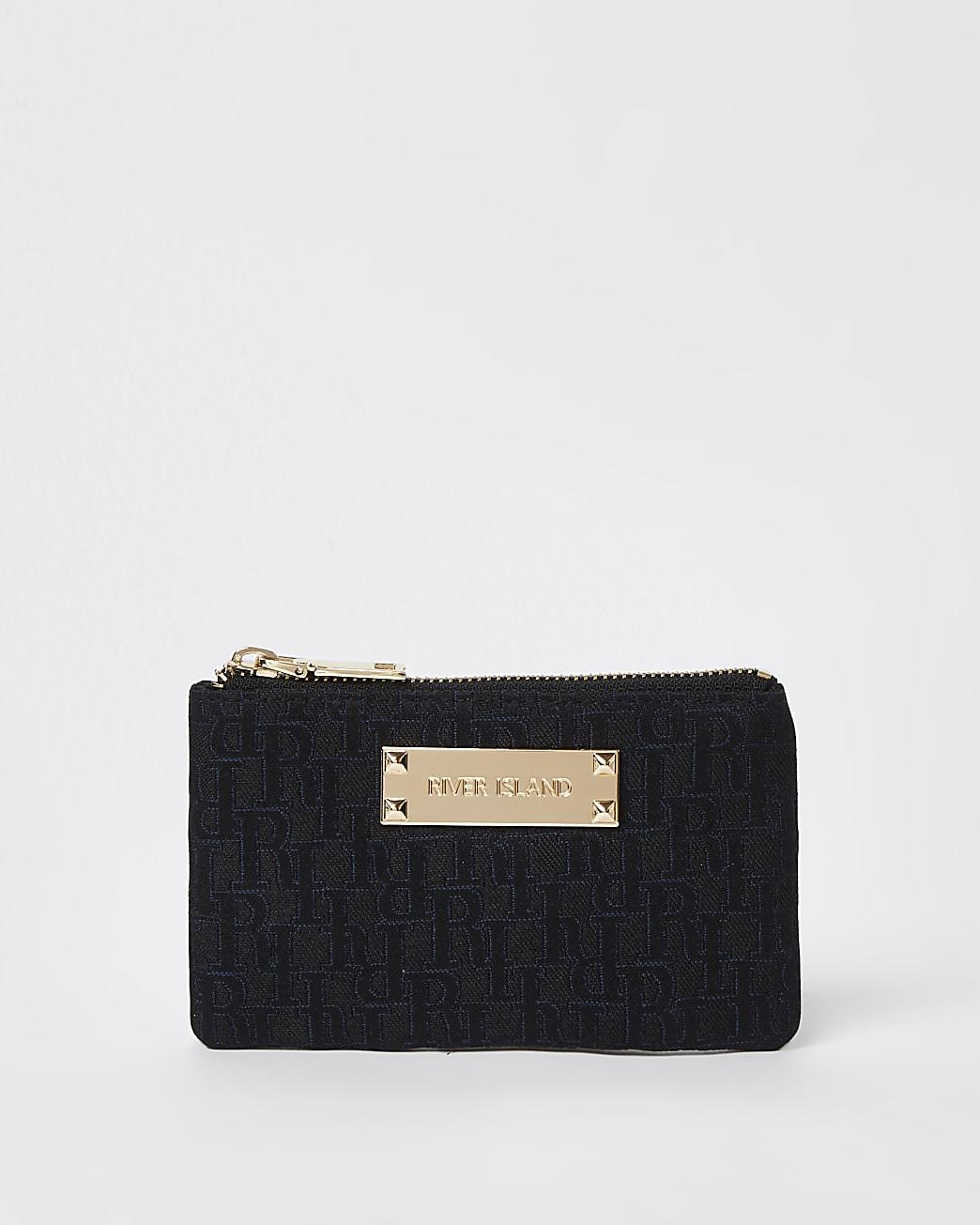 Black jacquard pouch