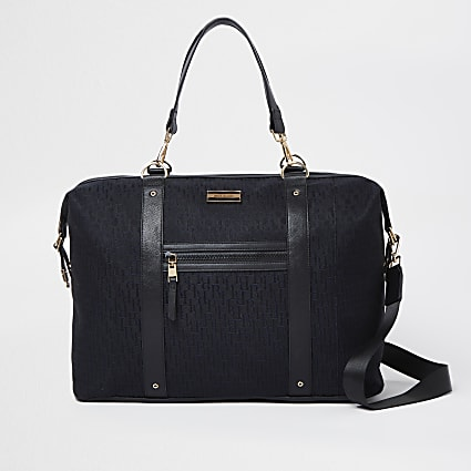 Black jacquard RI monogram holdall bag